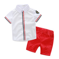 2016 Summer New Style Clothing Set Baby Boys Clothes T Shirt Shorts Red Grey