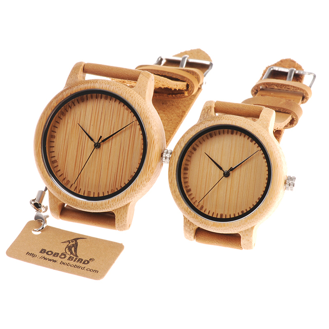 BOBO BIRD Lovers Wood Watches for Women Men Leather Band Bamboo Couple Casual Qu
