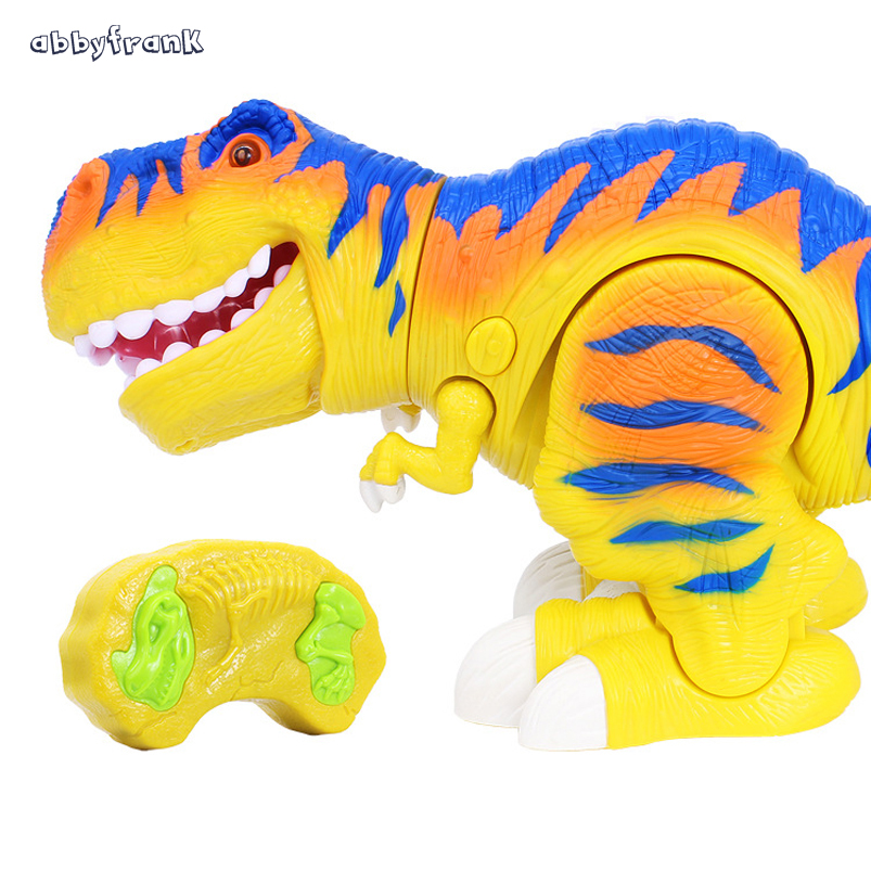 Abbyfrank New 40 CM RC Dinosaur Toy Cute Electric Infrared Animals Model Rex Lighting Sound Active Flexible Toy For Children
