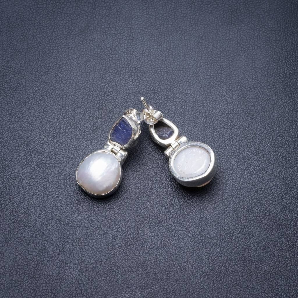 Natural River Pearl and Kyanite Handmade Unique 925 Sterling Silver Earrings 1 Y3873 соус паста pearl river bridge hoisin sauce хойсин 260 мл
