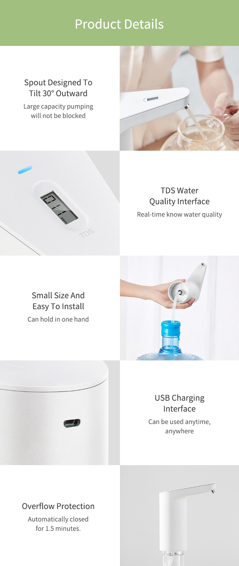 Newest Xiaomi XiaoLang Automatic Mini Touch Switch Water Pump Wireless Rechargeable Electric Dispenser Water Pump WithTDS Test (10)
