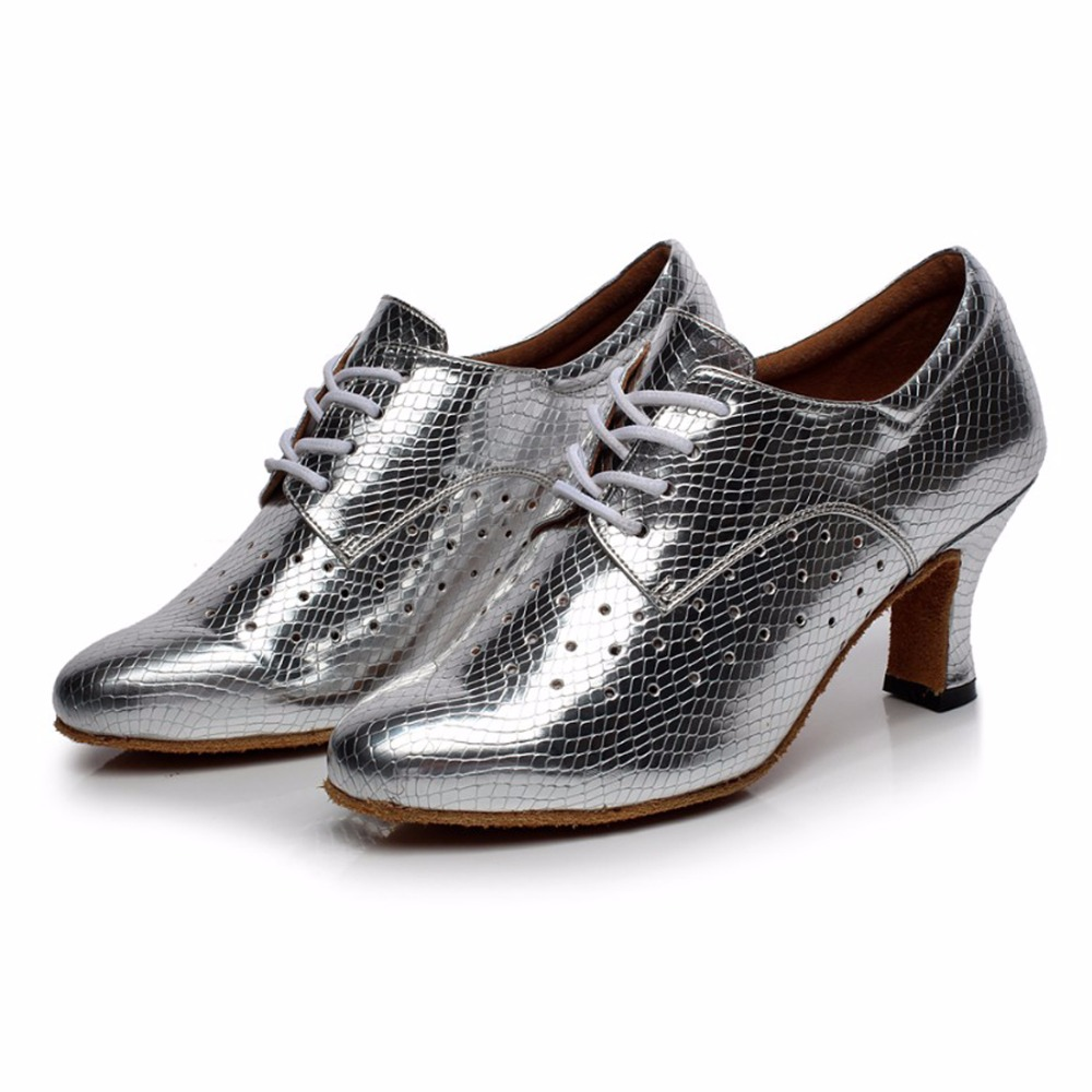 Woman Ballroom Latin Dance Shoes Salsa Shoes Female Modern Tango Dancing Shoes Soft Sole Practice Shoes High-heeled 5/6/7cm 1650