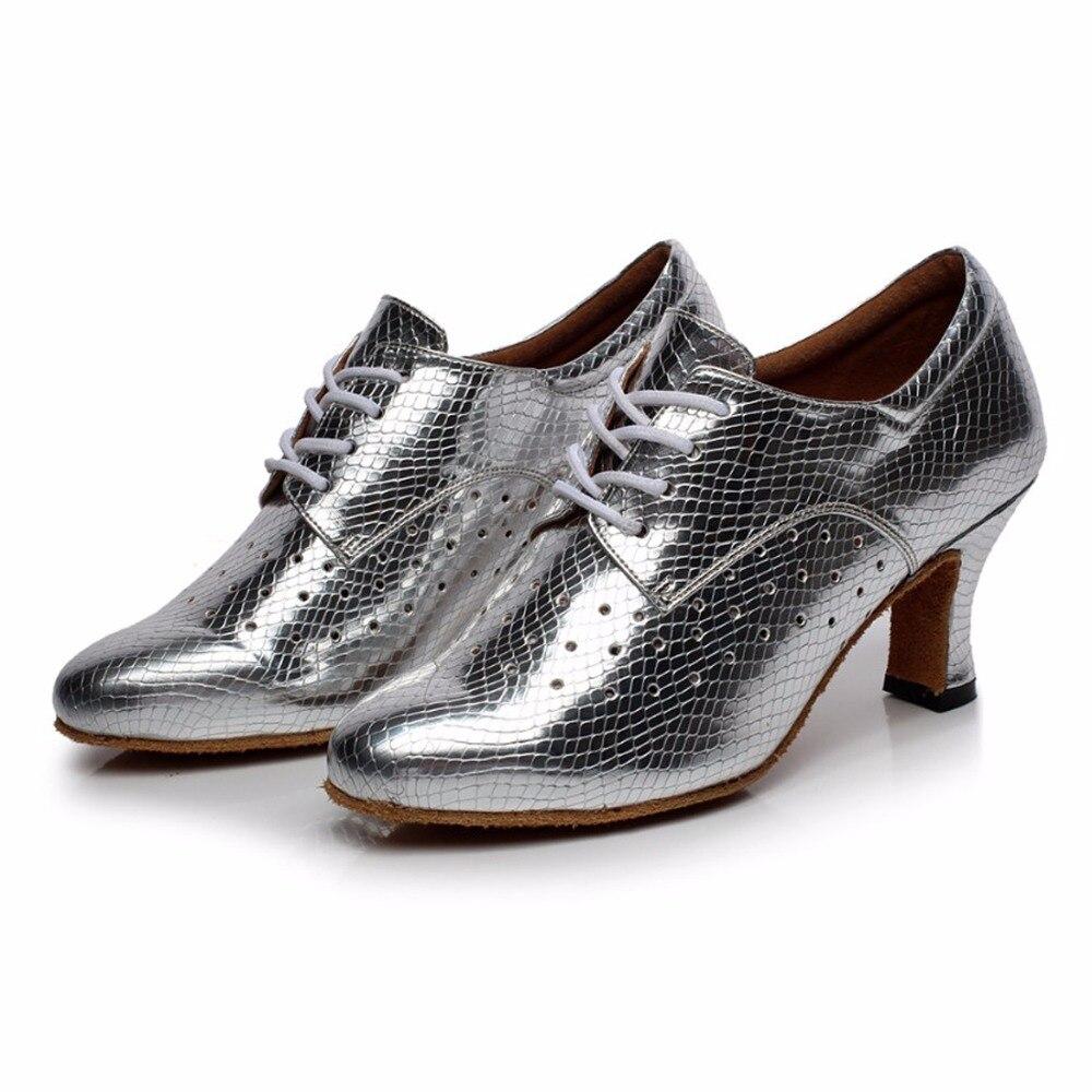 Woman Ballroom Latin Dance Shoes Salsa Shoes Female Modern Tango Dancing Shoes Soft Sole Practice Shoes High-heeled 5/6/7cm 1650