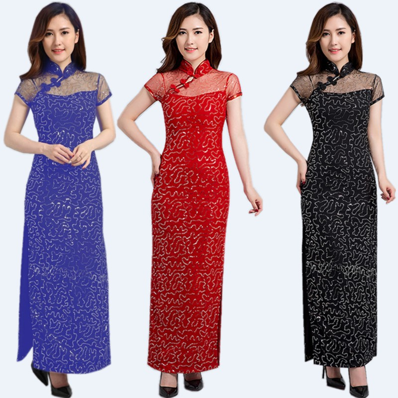 New lace improved fashion High slit sexy sequined cheongsam with long elegant dresses temperament cheongsam women dressesNew lace improved fashion High slit sexy sequined cheongsam with long elegant dresses temperament cheongsam women dresses