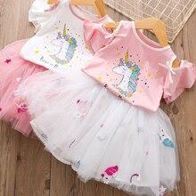 Детское платье с единорогом для девочек, комплекты летней одежды с единорогом футболка с короткими рукавами+ юбка-пачка Детские костюмы для девочек