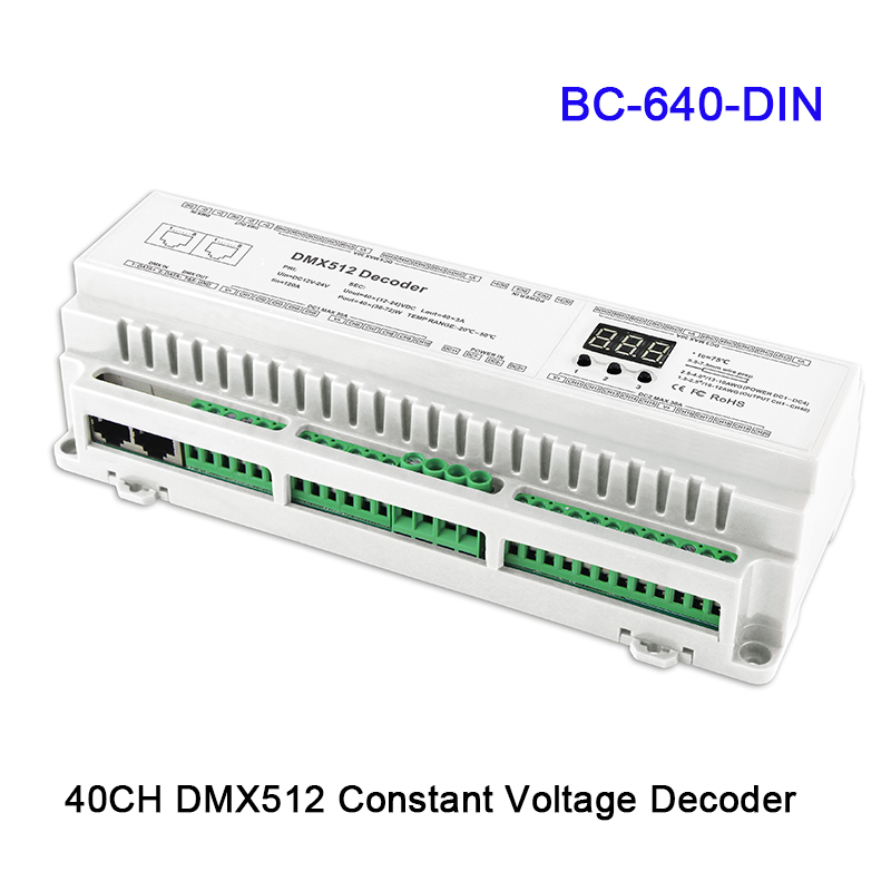 BC-624-DIN/BC-632-DIN/BC-640-DIN nouveau 24/32/40 CH DMX512/8bit/16bit DC12V-24V RJ45 connecter LED décodeur RGB/RGBW