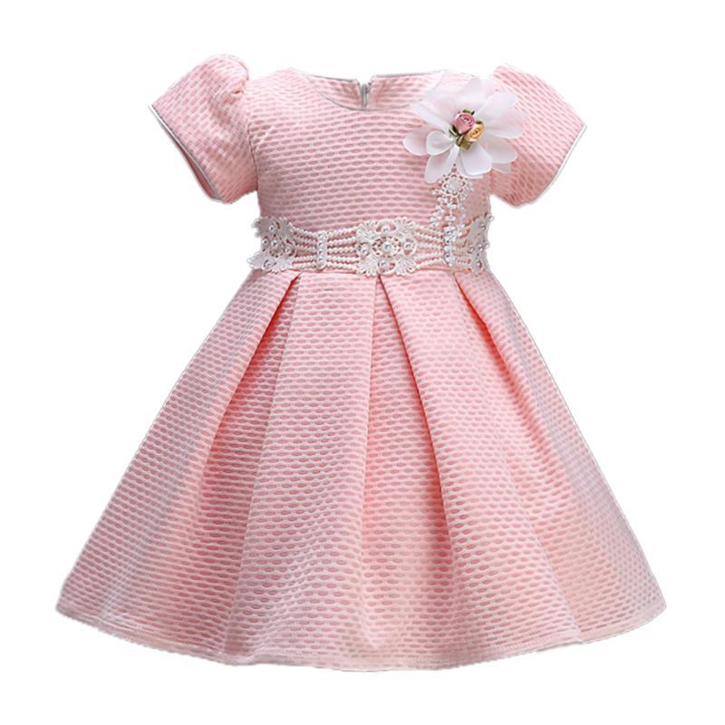 Fashion Baby Girl Dress Little Princess Pink Flower Luxury Dresses Baby Kids Short Sleeve Tutu Ball Gown