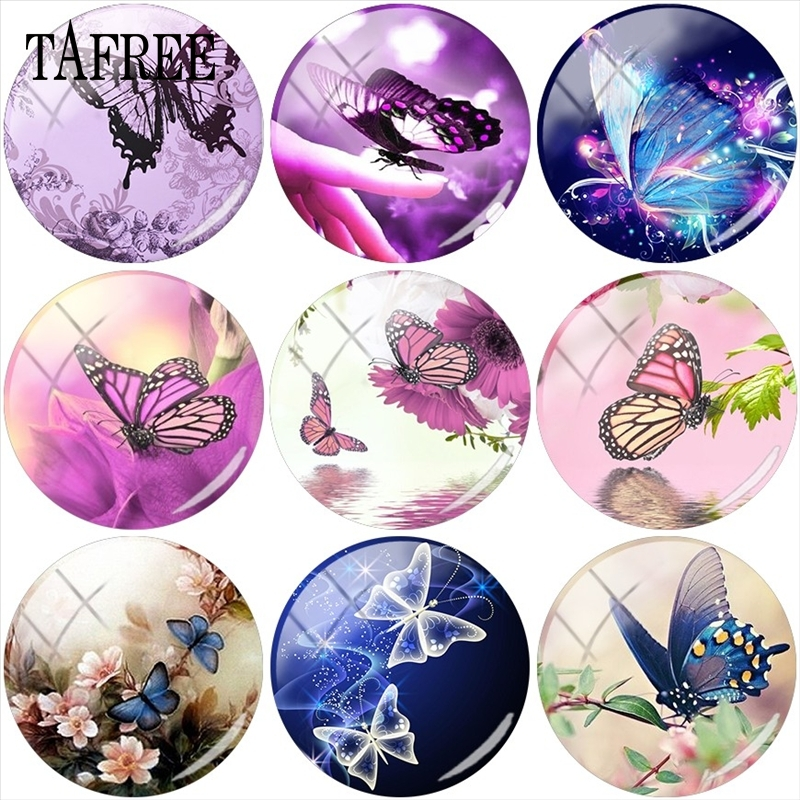 TAFREE Romantic Butterfly Glass Beads 12mm 15mm 18mm 20mm 25mm Glass Cabochon Dome Animal Picture Cameo Settings DIY Jewelry