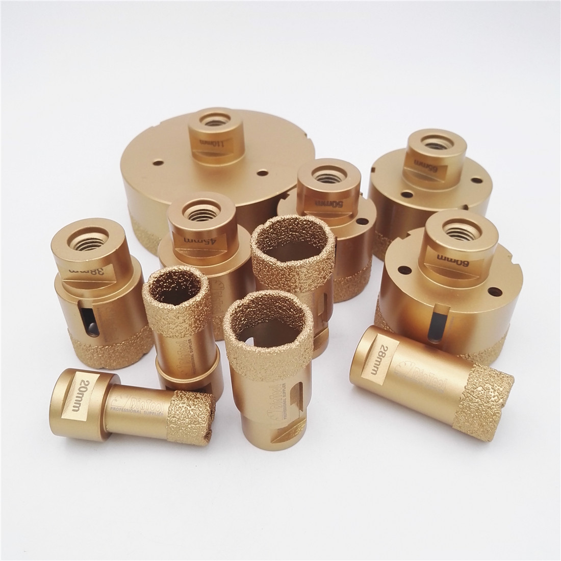 DIATOOL 1pc Vacuum Brazed Diamond Drilling Core Bits With 15MM Diamond Height M14 Connection Drill Bits Hole Saw
