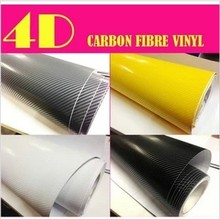 5Free shipping 4D Black Carbon Fiber Textured Vinyl with Bubble Free Air Release car sticker four colors styling