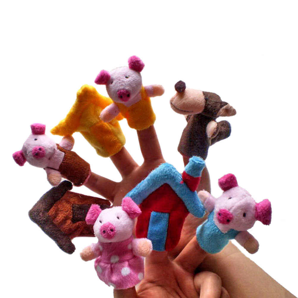 8Pcs Finger Puppet Three Little Pigs Theme Children Educational Fairy Tale Toy Plush Puppet Educational Hand Toy Story Toy