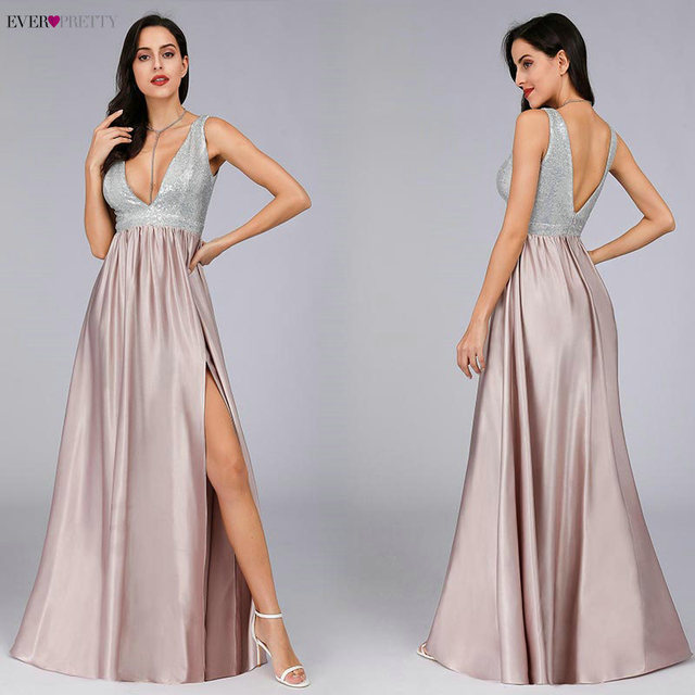 Blush Pink Prom Dresses Long Ever Pretty EP07890 Sexy Deep V-neck Backless Sparkle Sequin Formal Party Gowns Vestidos Prom 2020 4