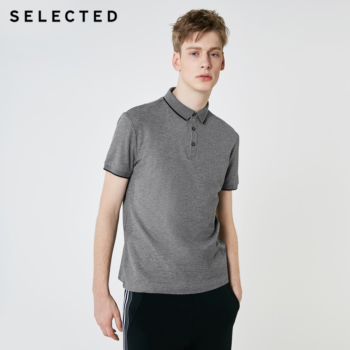 SELECTED Men's Summer Turn-down Collar Short-sleeved Polo S 419206503