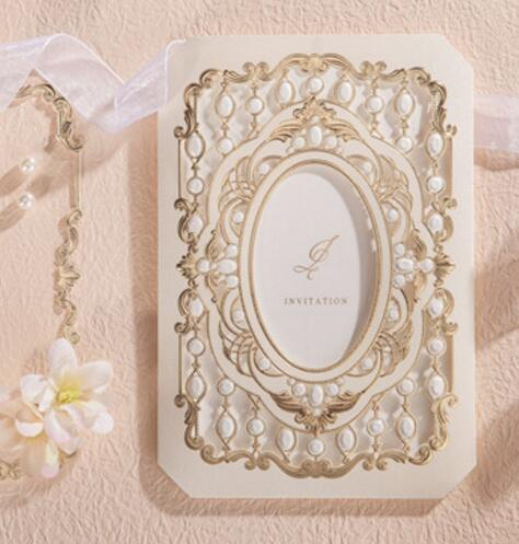 Gold Photo Frame Wedding Party Invitation Cards Hot Stamping Birthday Engagement Invitations Card 100PCS EXPRESS SHIPPING