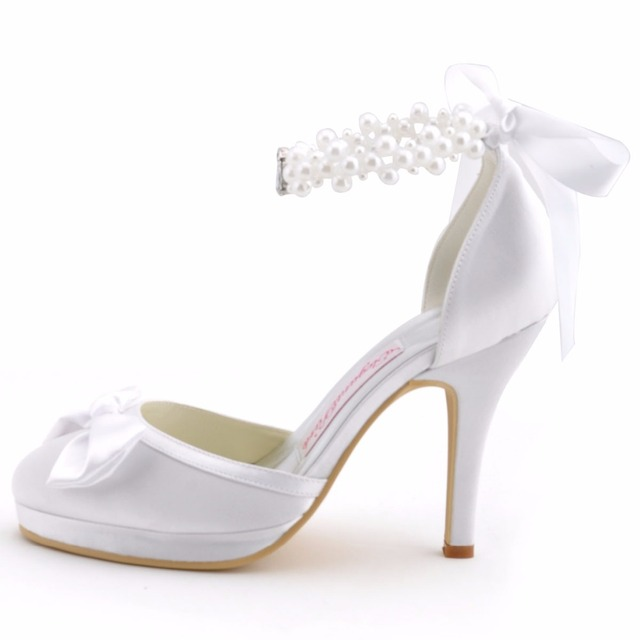 Woman Wedding Shoes White Ivory High Heel Round Toe Platform Pearls Ankle Strap Bow Satin Lady Prom Evening Bridal Pumps EP11074