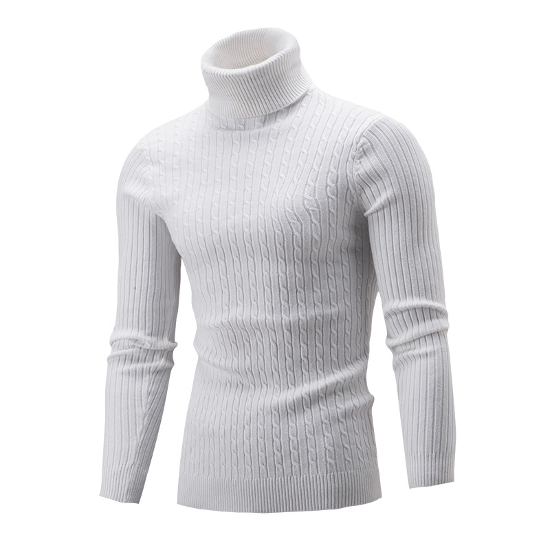 2019 New  Winter Men'S Sweater Men's Turtleneck Solid Color Twist Shaped Casual Sweater Men's Slim Fit Brand Knitted Pullovers