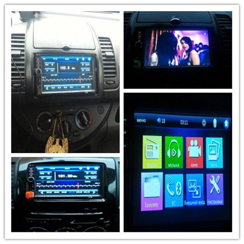 Универсальный 7 HD Bluetooth Сенсорный экран стерео Радио плеер 2 DIN в тире MP3 MP5 медиа-плеер с камера заднего вида