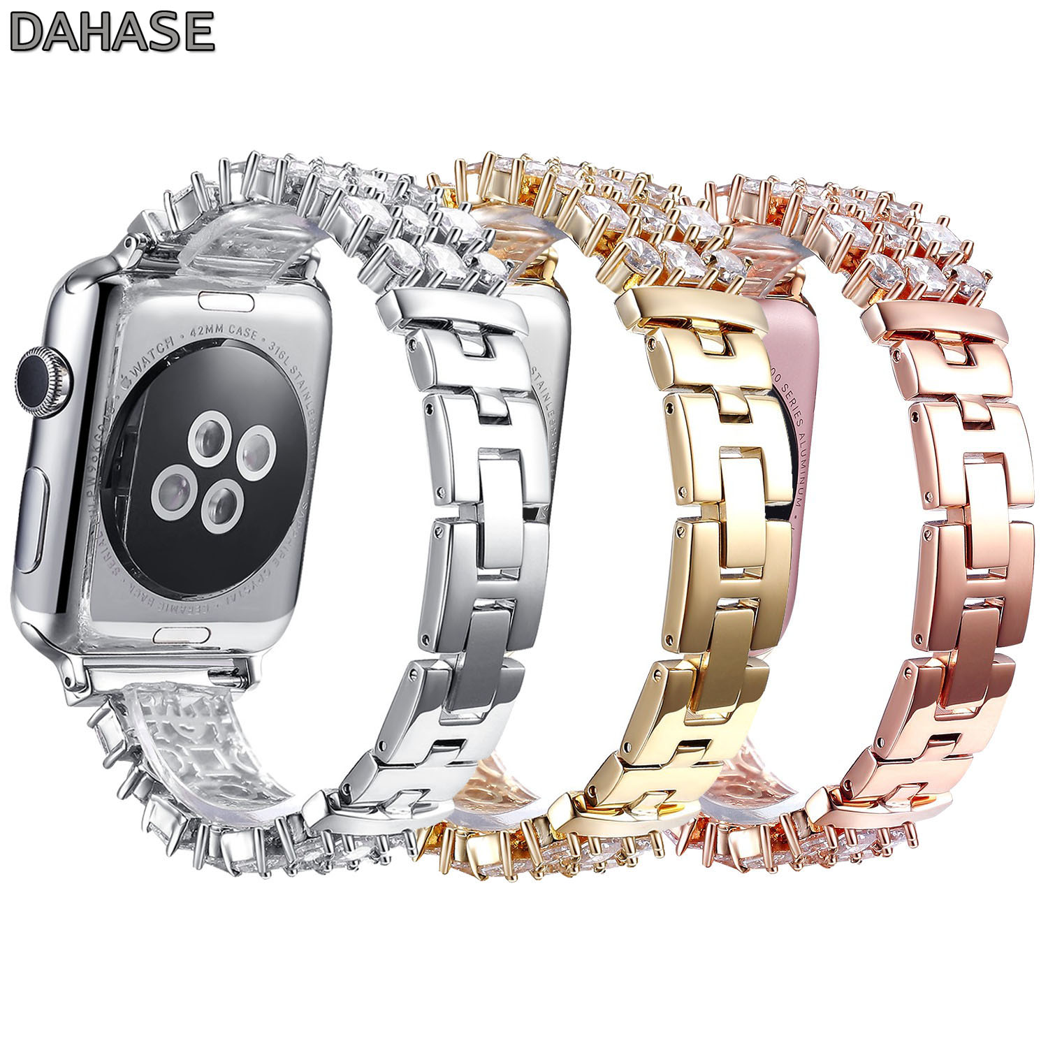 DAHASE Bling Rhinestone Link Bracelet for Apple Watch Band Stainless Steel Strap for iWatch 38mm 42mm Series 1/2/3 Belt top quality full stainless steel watch band for apple watch strap band link bracelet band for iwatch 38mm 42mm 2016 new sale