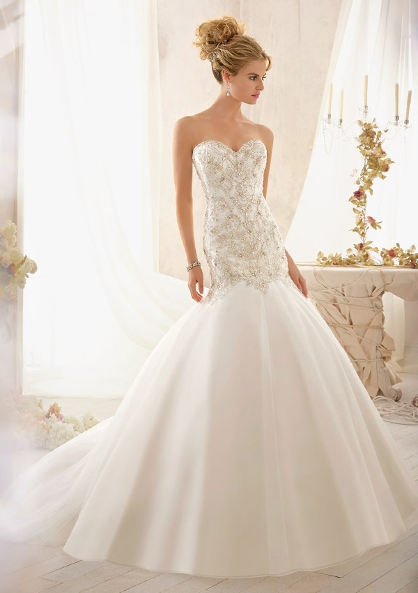 Charming Mermaid Beading Sweetheart Court Train Sleeveless Tulle ...