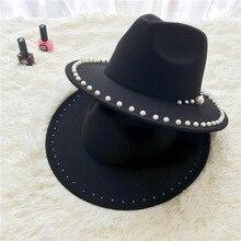 Pearl Felt Hat Ladies Vintage Fedoras Chapeau Femme Feutre dames hoeden kerk