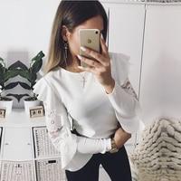 DeRuiLaDy Ruffle Lace Blouse Shirt Women Long Sleeve Floral White Blouses Female Tops Elegant Fashion Blouse Shirts blusas femme