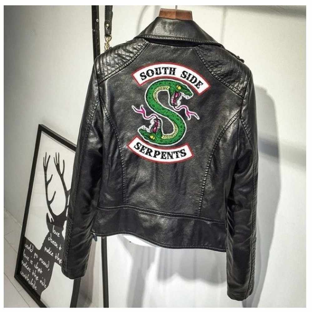NEW Riverdale Print Logo Southside Serpents Pink/Black PU Leather Women jackets riverdale Serpents Streetwear Leather clothing