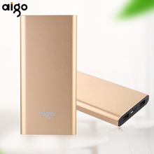 Aigo 10000mAh Power Bank Dual USB Outports Mobile Phone Portable Charging Backup External Battery for Mobile Phone Fast Charging