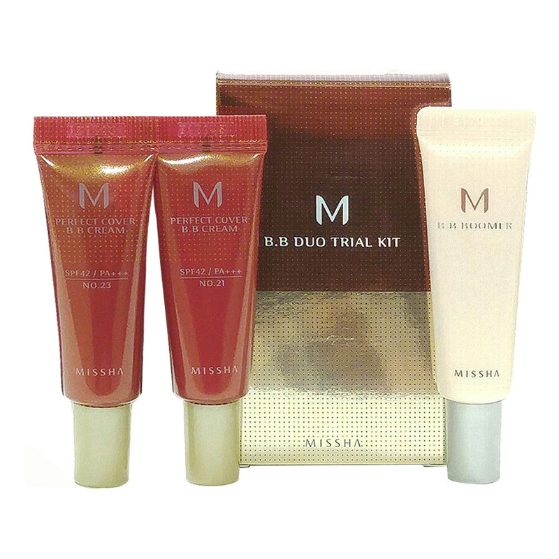 MISSHA Duo Trial Kit A MISSHA BB Boomer Primer 10ml + MISSHA M perfect Cover BB Cream ( #21 #23 ) 10ml Korea Cosmetics missha m perfect cover bb cream spf42 pa 50ml original korea missha perfect cover bb cream shipping from korea