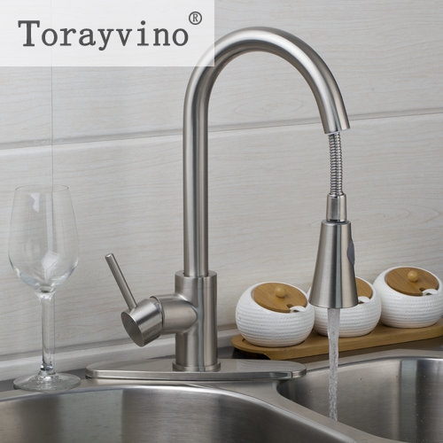 Torayvino US Kitchen Faucet Deck Mounted Nickle Brushed Swivel Faucet Pull Out Down Brushed Nickel Swivel