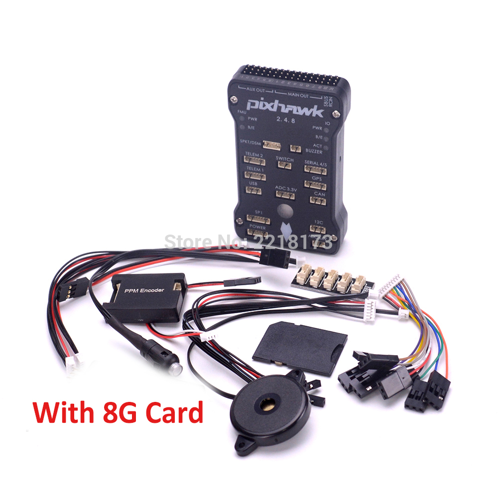 Pixhawk PX4 Autopilot PIX 2.4.8 32 Bit Flight Controller with Safety Switch and Buzzer / 8GB Card / PPM / I2C for S500 F450 pixhawk px4 32 bit open source autopilot flight controller v2 4 8 with safety switch buzzer
