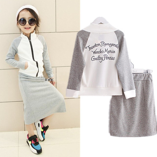2016 3-11Y Girls Gray Tracksuit Hoodies Skirt Set Spring Autumn Teens Kids Outfits Zipped Hoodies Sweatshirt Girls Clothing Sets