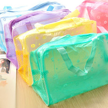 Hot Floral Print Transparent Waterproof Makeup Bag  Korean Waterproof Make up Cosmetic Bag Toiletry Bathing Pouch Handbag Tote
