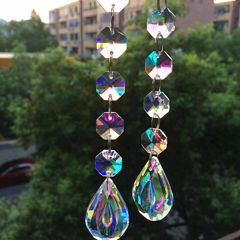 Grânulos com Cupped Gotas de Vidro Pingentes para o Ano Decoração da Árvore de Natal Lote Arco-íris Cristal Octógono Novo 20 Pçs – 170mm
