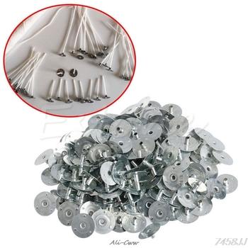 100 200Pcs świeca knot Metal Sustainer Wick Tabs srebrny do odlewania świec prezent 12 5*2 5mm tanie i dobre opinie