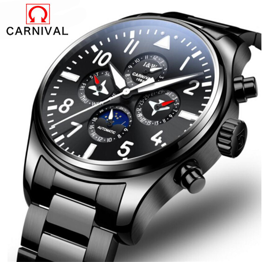 Men sport Watch Carnival brand fashion men Mechanical watch 30M waterproof steel band auto date male