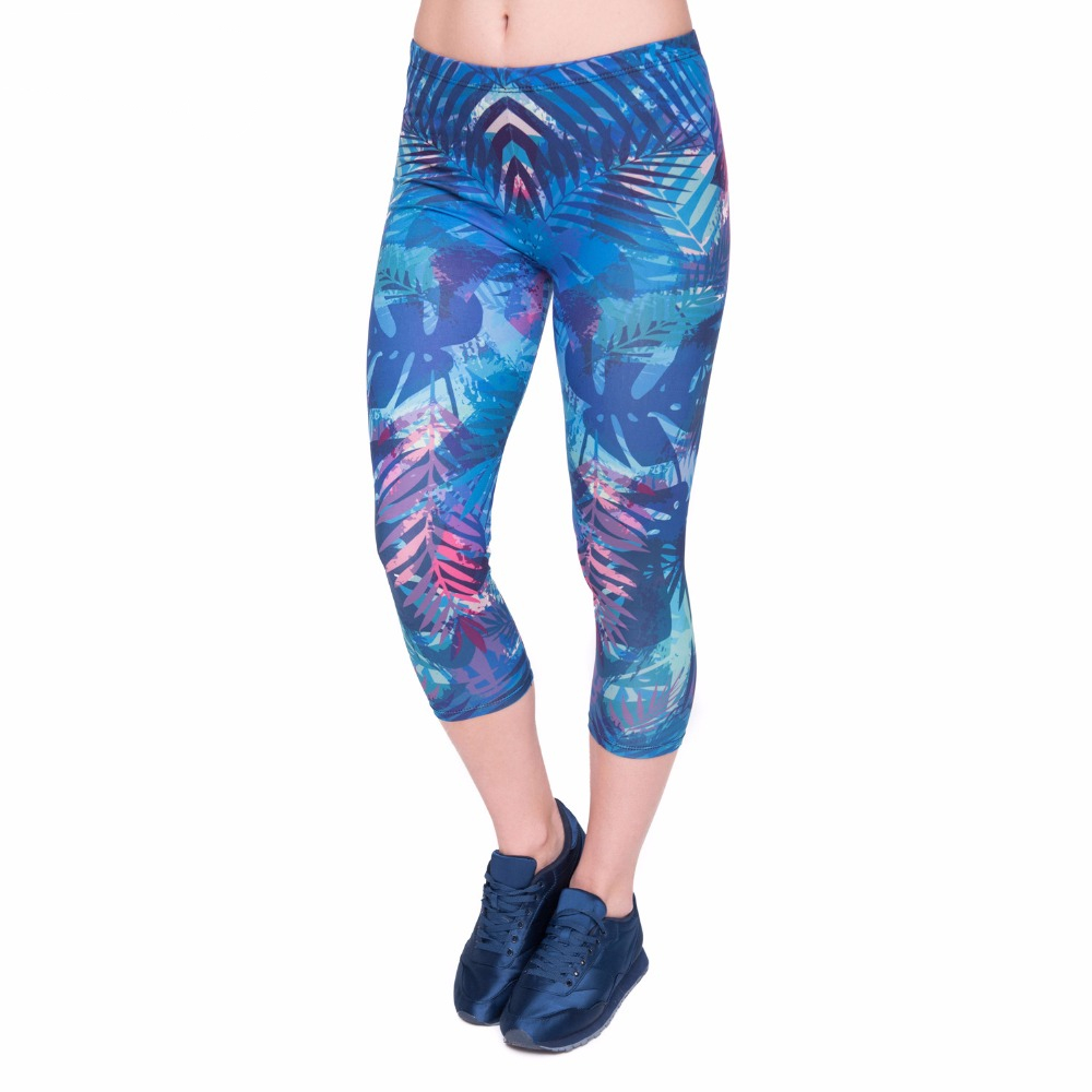 Women Capri Legging Tropical Leaves Printing Sexy Mid-Calf 3/4 Fitness Leggings Capri Pants