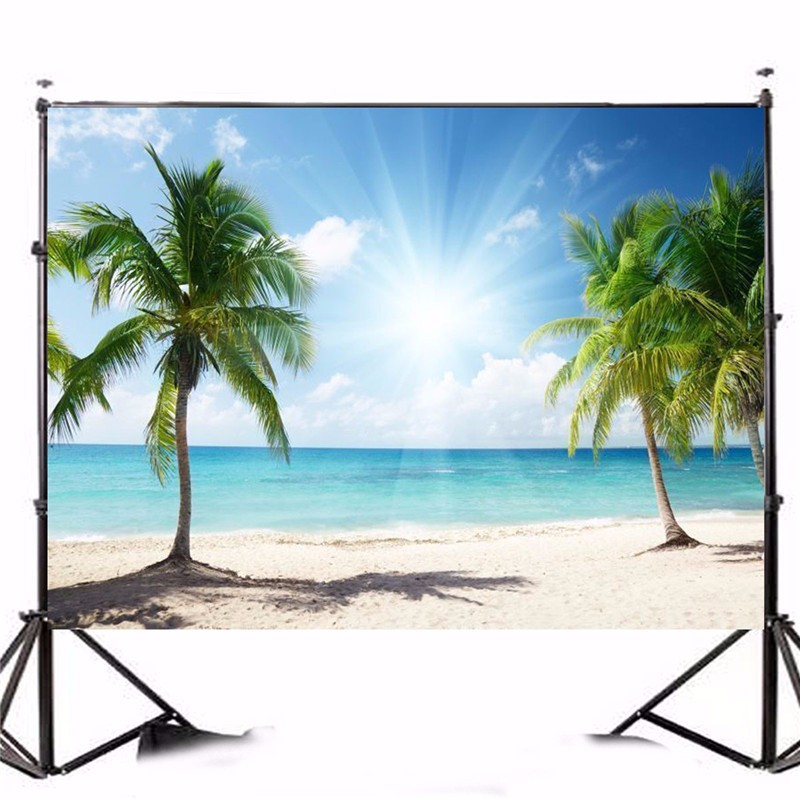 цены 7x5FT Vinyl Background Photography Tree Beach Sunshine Studio Photo Prop photographic Backdrop Cloth waterproof 2.1m x 1.5m