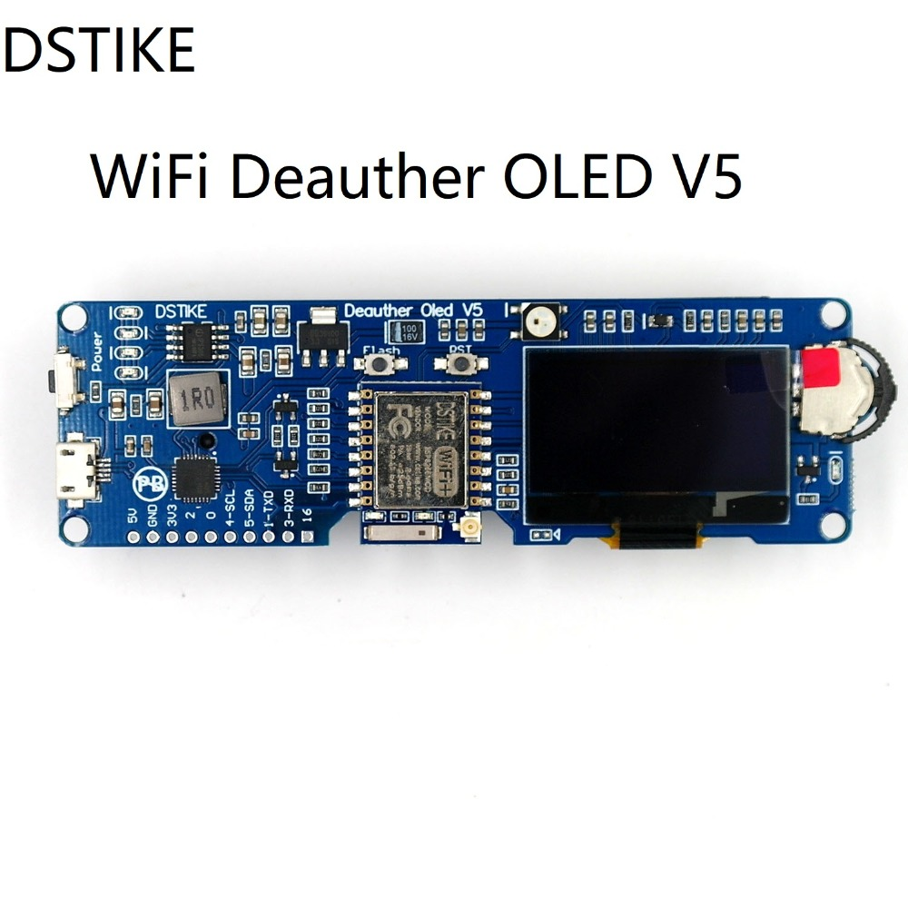 DSTIKE WiFi Deauther OLED V5 | ESP8266 Development Board |18650 Battery Polarity Protection | Case | Antenna | 4MB ESP-07