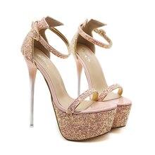 413c9a7ebc1 Zapatos de fiesta para mujer verano 2018 nueva mujer purpurina Rosa  plataforma Peep Toe tobillo Correa