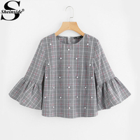 Sheinside Pearl Beading Flare Sleeve Grey Plaid Blouse 2017 Round Neck 3 4 Sleeve Button Cotton