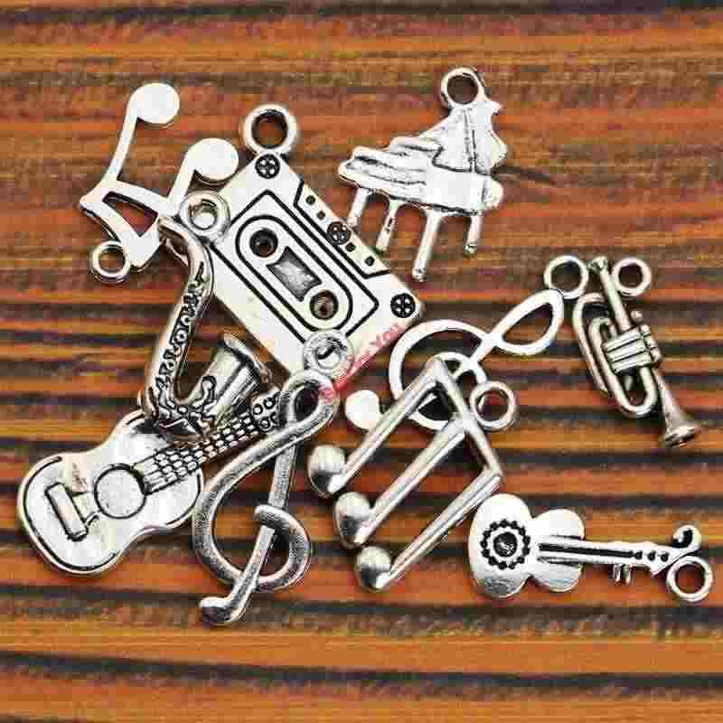 Микс тибетские посеребренные Музыка Примечание гитара труба Sax Подвески Аксессуары для ювелирных изделий DIY
