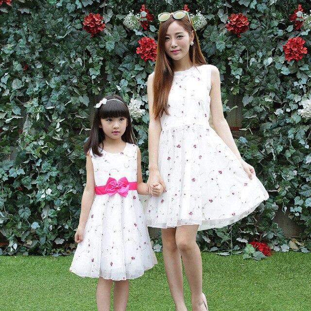 Summer Sleeveless Cute Chiffon Dress Mother Daughter Matching Dresses Family Matching Outfits Women Girls Party Dress