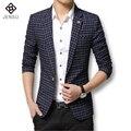 Nuevo 2016 Del Otoño Del Resorte Vestido Formal Hombres Traje Casual de Negocios de Los Hombres Blazers Moda de Lujo Diseño de la Tela Escocesa Más El Tamaño M-3XL