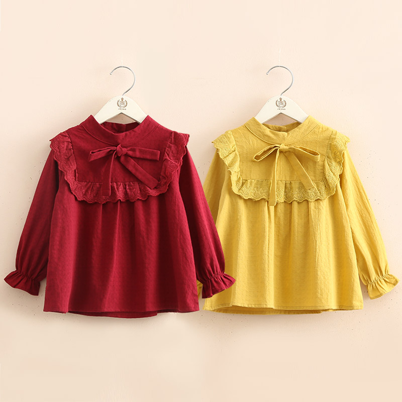 Cotton   Blouse   For Girls 2018 Spring Autumn 2 3 4 5 6 7 8 9 10 Years Children Long Sleeve Kids Baby Girl Bow Solid   Blouses     Shirts