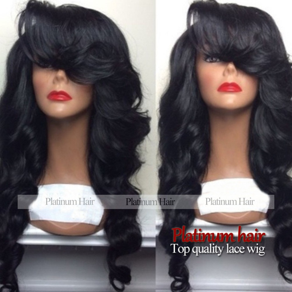wholesale fashion black wig long natural body wave wigs Brazilian Hair synthetic lace front wig heat resistant for women