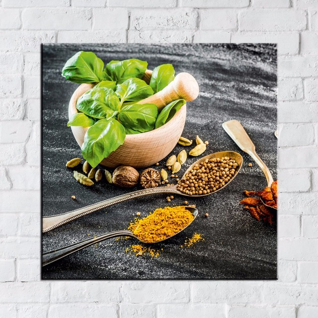 Canvas Poster Kitchen Home Decor Frame 1 Piece/Pcs Spoon Grains Spices Pictures Printed Chili Food Painting Living Room Wall Art