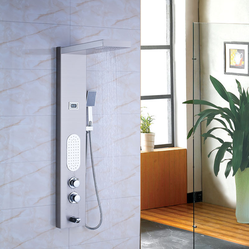 Brushed Nickel Thermostatic Shower Panel Bathroom Tub Faucet Double ...