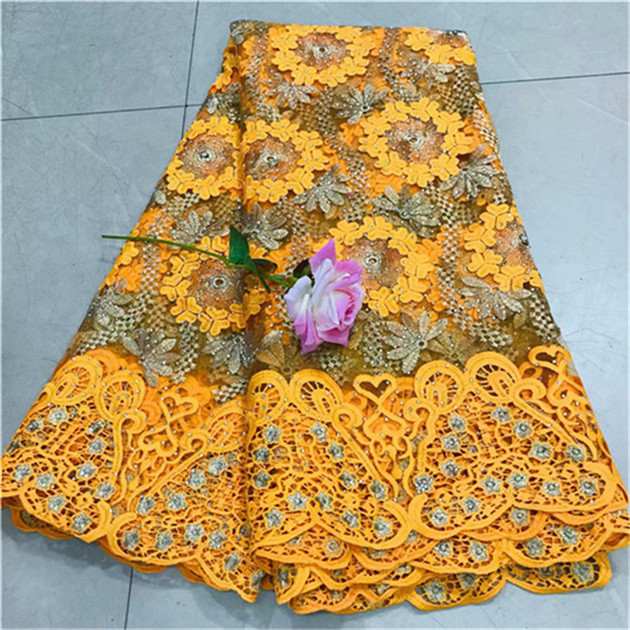New Design African Embroidery Lace Fabric With Big stone Chantilly Lace 2018 Fashion African Lace Fabric
