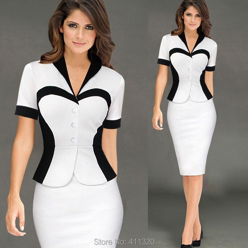 Womens Elegant Business Suits Blazer with Skirt Formal Office Uniform Designs Women Lapel Colorblock Knee Length Pencil Dress (5)