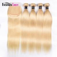 Fashion Lady Brazilian Remy Hair Platinum Blonde Hair Bundles With Closure 100% Human Hair 4 Bundles With Lace Closure Free Part